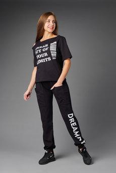 Черный костюм: футболка и брюки Трикотажница