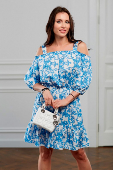 Голубое платье с открытыми плечами Look Russian