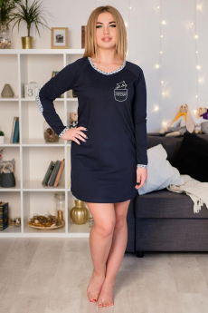 Темно-синее платье с длинным рукавом Шарлиз