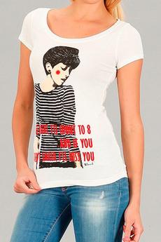 Белая футболка из 100% хлопка Девушка Blend со скидкой
